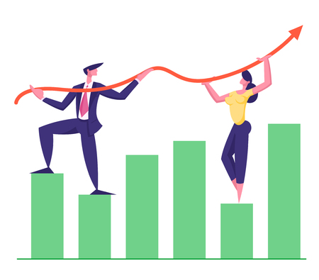 Business Team Working on Growth Arrow Graph. Financial Profit Concept with Business Characters Data Analysis. Vector Flat Cartoon illustration