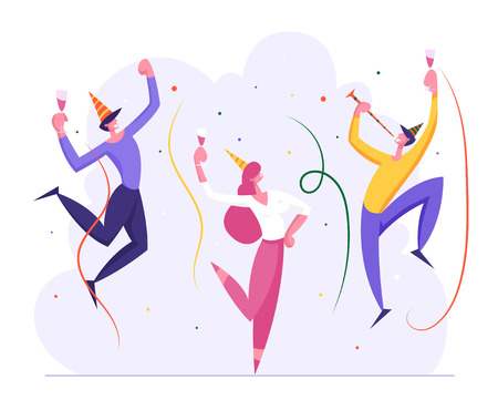 Happy Business People Party Celebration. Cheerful Man and Woman Characters Celebrating New Year, Christmas, Birthday with Confetti and Champagne Glass. Vector flat illustration Çizim
