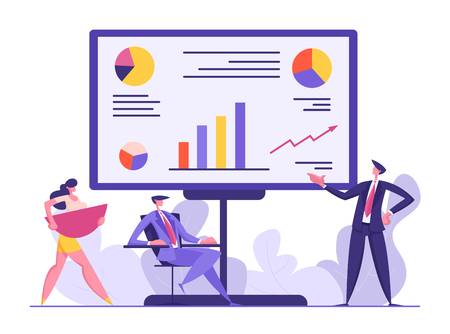 Business People Meeting Concept. Project Presentation, Teamwork, Data Analysis with Man Character Pointing on Financial Graph on Board. Vector flat illustration Ilustração