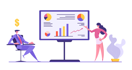 Business People Meeting Concept. Project Presentation, Data Analysis with Woman Character Pointing on Financial Graph on Board to the Businessman. Vector flat illustration