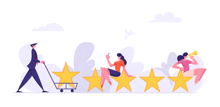 Consumer Feedback Concept with Characters Giving 5 Stars Satisfaction Level. Rating System Customer Review People Comment. Vector flat cartoon illustration