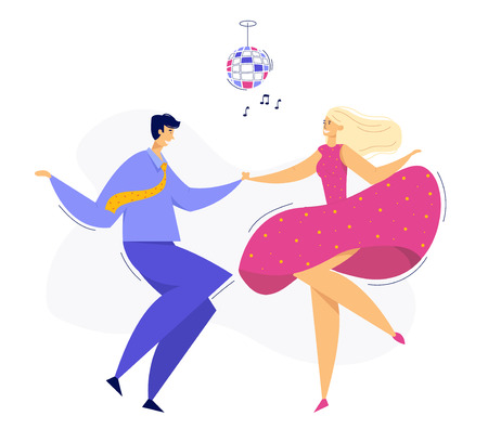 Young Couple Dancing Swing, Rock, Pop. Night Club Disco Party with Male and Female Dancer Characters. Vector flat cartoon illustration Иллюстрация