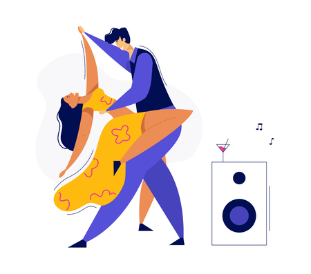 Young Couple Dancing Swing, Tango, Pop. Night Club Disco Party with Male and Female Dancer Characters. Vector flat cartoon illustration Иллюстрация