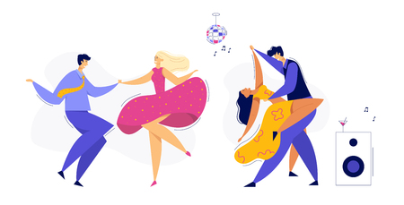 Young Couple Dancing Swing, Tango, Pop. Night Club Disco Party with Male and Female Dancer Characters Set. Vector flat cartoon illustration Фото со стока - 129762086