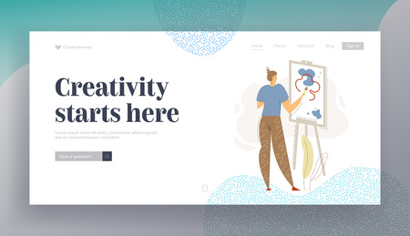 Male Painter Artist Character Painting with Colorful Palette on Easel Landing Page. Man Drawing with Paints and Brush. Guy with Paintbrush Web Banner. Vector flat cartoon illustration Stockfoto - 129762090