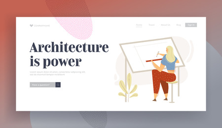 Architect Female Character Working on Blueprint Landing Page. Building Construction Architects Designing Concept with Woman Drawing Engineering Sketch Banner. Vector flat cartoon illustration
