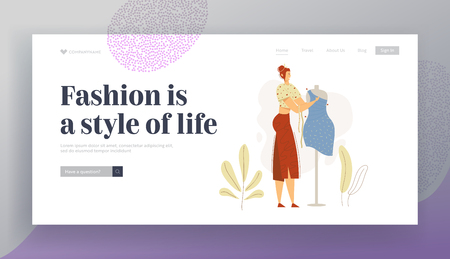 Dressmaker Character Working on Mannequin Landing Page Banner. Woman Fashion Designer at Work. Tailor Seamstress Workshop with Sewing Equipment Website. Vector flat cartoon illustration