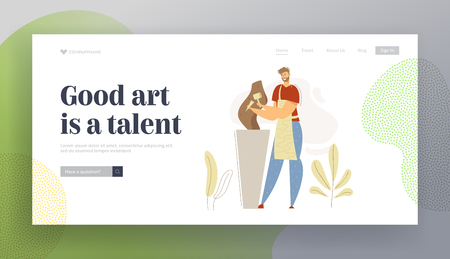 Smiling Man Sculptor Working in Studio Landing Page. Carver Profession Concept with Male Character with Tool Sculpting Workshop Website Banner. Vector flat cartoon illustration