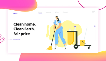 Woman Cleaner Character with Mop and Bucket Banner Website. Cleaning Service with Female Staff with Equipment. Housewife Washing Home, Janitor Worker Landing Page. Vector flat illustration