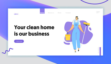 Woman Cleaner Character with Mop and Bucket Landing Page. Cleaning Service with Female Staff with Equipment. Housewife Washing Home, Janitor Worker Banner Website. Vector flat illustration