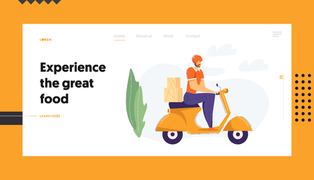 Delivery Man Riding Scooter with Package Landing Page. Fast Delivery Shipping Service Concept with Male Character on Motorbike Website Banner. Vector flat cartoon illustration Stock Illustratie