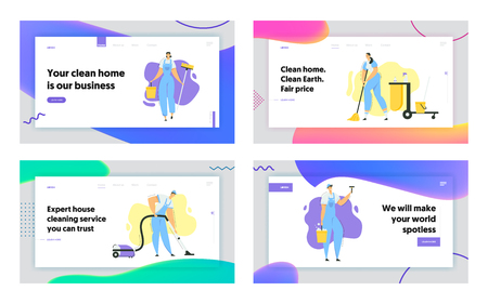 Cleaner Characters with Mop, Vacuum Cleaner and Tools Landing Page. Cleaning Service with Staff with Equipment. Housewife Washing Home, Janitor Worker Web Banner. Vector flat illustration Ilustrace