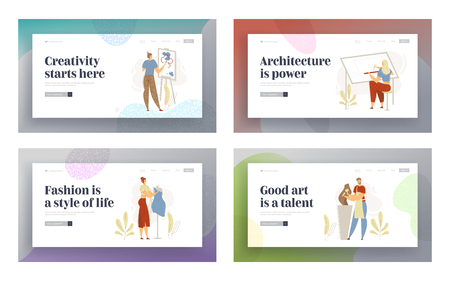 Smiling Man Sculptor Working in Studio Landing Page. Woman Character with Fashion Designer. Guy Painting with Brush. Architect Engineering Website Banner. Vector flat cartoon illustration