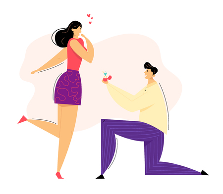 Man Kneeling Offering Engagement Ring to his Girlfriend. Young Guy on Knees Proposing Girl to Marry. Marriage Proposal Concept. Vector flat illustration
