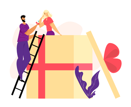 Man Offering Engagement Ring to his Girlfriend in Big Gift Box. Young Guy Proposing Girl to Marry. Marriage Proposal Concept. Vector flat illustration