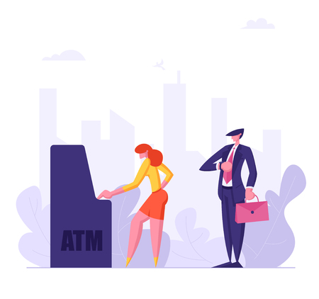 People Waiting in Queue Near ATM. Cash Machine Concept with Man and Woman Standing in Line. Financial Transaction. Vector flat illustration Stock fotó - 129762108