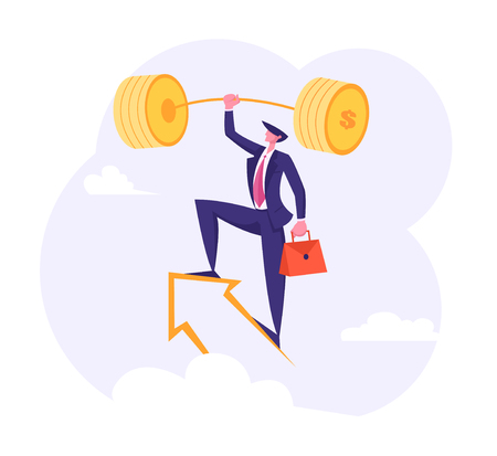 Successful Businessman with Golden Barbell on the Arrow in the Sky. Financial Success, Career Growth, Goal Achievement with Male Character Lifting Dumbbell. Vector flat illustration