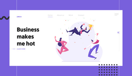 Business Team Celebrating Success Banner Template. Businessman with Winner Cup. Group of Cheering People Celebrate Victory. Leadership, Teamwork Concept Landing Page. Vector flat illustration Vectores