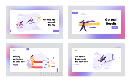 Business People Climbing Stairs to Success Banner Template. Businessman with Arrow. Woman with Magnet. Business Strategy Competition, Goal Achievement Concept Landing Page Set. Vector flat cartoon illustration Illustration