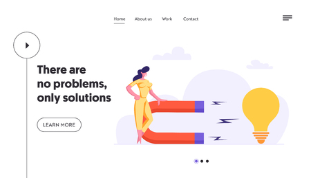 Creative Woman with Big Magnet Attract Business Idea Landing Page. Businesswoman Using Magnetic Power to Attract Light Bulb. Brainstorming Innovation Concept Website Banner. Vector flat cartoon illustration Çizim