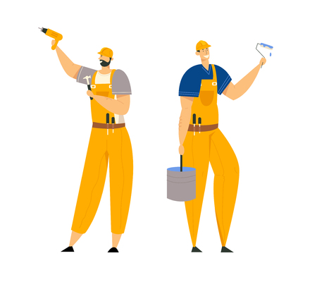Builder Characters in Workwear. Construction Engineers with Building Equipment Tools. Architect Repairman, Painter, Builders. Vector flat illustration 向量圖像