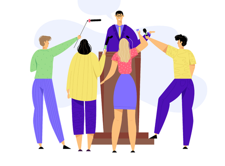 Press Conference Mass Media Interview. Man Standing on Tribune with Microphones. TV News Concept with Speaker and Journalists. Vector flat illustration