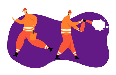 Firefighter Characters with Rescue Equipment. Firefighting Emergency Concept with Fireman in Action. Firefighters in Helmet with Extinguisher and Bucket. Vector flat illustration Stockfoto - 129762158