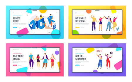Online Social Media Network Concept with Happy Young People Landing Page. 10K Followers with Group of Subscribers. Friendship Multicultural Group Web Banner. Crowd Protesting on Strike. Vector flat illustration Фото со стока - 129762163