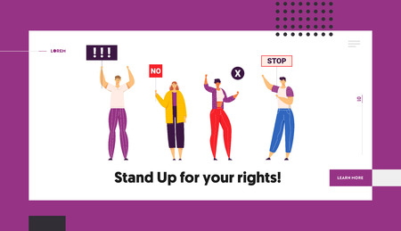 Group of Young People Holding Protest Signs on the Strike Landing Page Template. Crowd Protesting Characters with Placards on Demonstration, Strike Action, Political Rally Banner. Vector flat illustration Фото со стока - 129762164