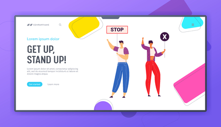 Group of Young People Holding Protest Signs on the Strike Landing Page. Crowd Protesting Characters with Placards on Demonstration, Strike Action, Political Picket Web Banner. Vector flat illustration Фото со стока - 129762165