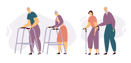 Aged People Walking with Sticks. Happy Senior Man and Woman Characters Together. Elderly People with Paddle Walker, Old Age Concept. Vector flat illustration Ilustração