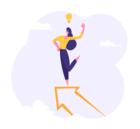 Businesswoman Character Standing on the Top of Big Arrow with Idea Symbol Light Bulb. Leadership, Goal Achievement, Business Success Concept. Woman Leader, Winner. Vector flat illustration