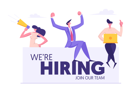 We are Hiring Concept Banner with Business People. Teamwork, Recruitment, Job Hiring, Agency Interview, Human Resources with Man and Woman. Vector flat illustration