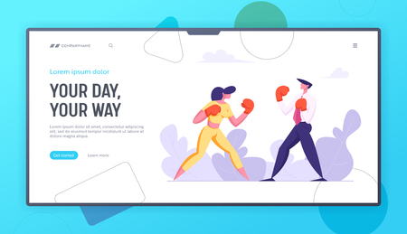 Business People Boxing Landing Page Template. Man and Woman Fighting in Boxing Gloves. Business Competition, Challenge, Leadership Concept Banner with Characters Fight. Vector flat illustration Ilustracja