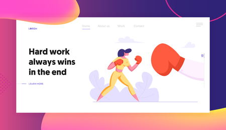 Business Woman Boxing with Big Glove Landing Page. Woman Fighting in Boxing Gloves. Business Competition, Challenge, Leadership Concept with Character Fight Banner. Vector flat illustration