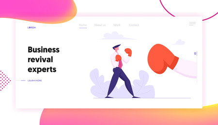 Businessman Boxing with Big Glove Landing Page Template. Man Fighting in Boxing Gloves. Business Competition, Challenge, Leadership Concept with Character Fight Web Banner. Vector flat illustration