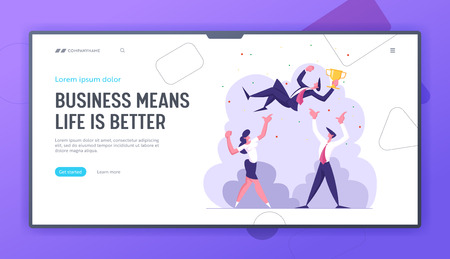 Business Team Celebrating Success Landing Page Template. Businessman with Winner Cup. Group of Cheering People Celebrate Victory. Leadership, Teamwork Concept Web banner. Vector flat illustration Vectores