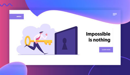 Happy Businessman Holding Big Key and Try to Unlock Keyhole Landing Page. Leadership, Career Growth, Business Solution Concept, Solving Problem Web Banner. Vector flat illustration