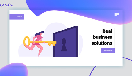 Businesswoman Character Holding Big Key and Try to Unlock Keyhole Landing Page Template. Leadership, Career Growth, Business Solution Concept, Solving Problem Banner. Vector flat illustration