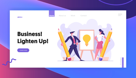 Business People Characters Draw Light Bulb with Pencil Landing Page. Creative Idea Symbol, Business Solution, Innovation Strategy, Brainstorming Web Banner Concept. Vector flat illustration
