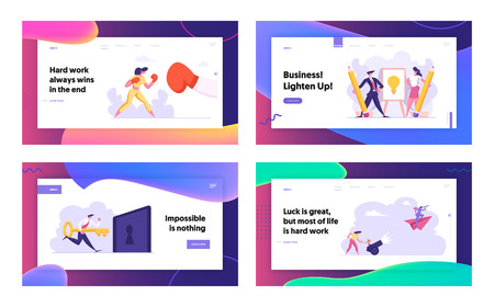 Business Woman Boxing with Big Glove Landing Page. Creative Idea Light Bulb. Business Competition, Challenge, Leadership, Businessman on Paper Plane Concept Web Banner. Vector flat illustration