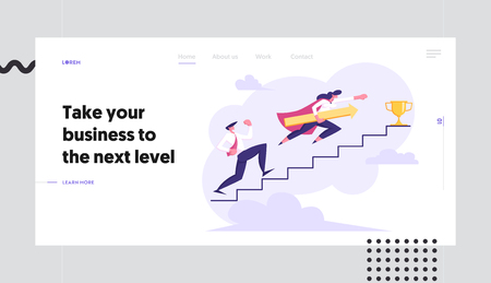 Business People Climbing Stairs to Success Web Banner. Man and Woman Characters Running to the Victory. Business Competition, Goal Achievement Concept Landing Page. Vector flat cartoon illustration