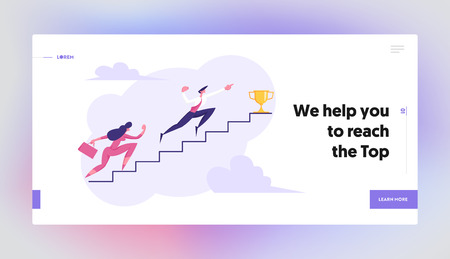 Business People Climbing Stairs to Success Landing Page. Man and Woman Characters Running to the Victory. Business Strategy Competition, Goal Achievement Concept Banner. Vector flat cartoon illustration