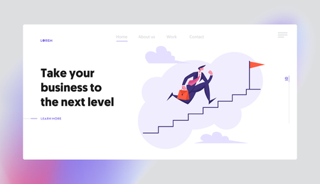 Businessman Character Running Up Stairway to the Top Landing Page. Leadership, Career Growth, Goal Achievement, Business Success Concept with Man Climbing Up The Stairs Website Banner. Vector flat ill