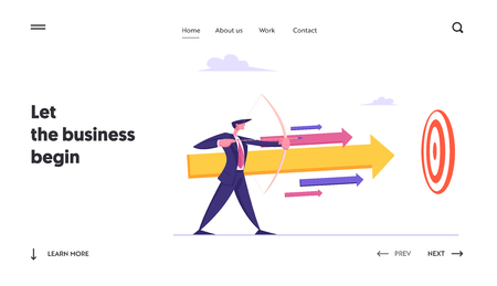 Businessman with Bow and Arrow Aiming Financial Growth Target Landing Page Template. Man Shooting at Target. Goal Achievement, Business Solution Strategy Concept Banner. Vector flat illustration