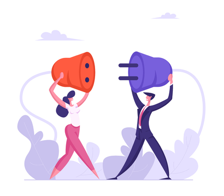 Business People Hold Plug in Hands. Man and Woman Connecting Power Socket. Teamwork Business Connection, Partnership, Cooperation Concept. Vector flat illustration
