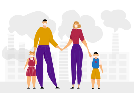 Family Wearing Protective Face Masks. City Air Pollution Concept with Industrial Pipes Emitting Smoke and Smog. Environment, Health Care. Vector flat illustration