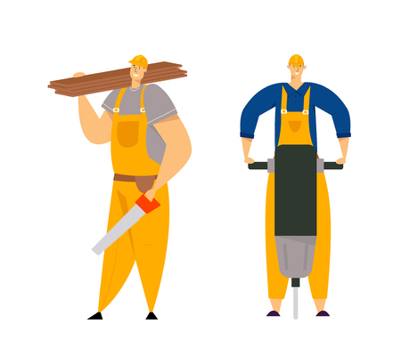 Builder Characters in Workwear. Construction Engineers with Building Equipment Tools. Carpenter Repairman, Painter, Builders. Vector flat illustration 向量圖像