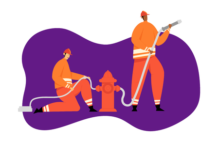 Firefighter Characters with Rescue Equipment. Firefighting Emergency Concept with Fireman in Action. Firefighters in Helmet with Extinguisher. Vector flat illustration Ilustrace