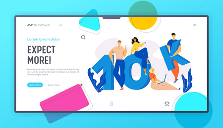 Online Social Media Network Concept with Happy Young People Landing Page. 10K Followers with Group of Man and Woman Subscribers Giving Likes Web Banner. Vector flat illustration 向量圖像